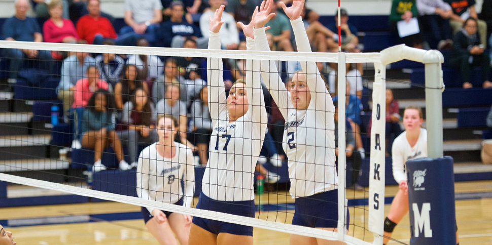 Maddie Clegg led Menlo with 14 kills on Wednesday. Photo by Brian Byllesby